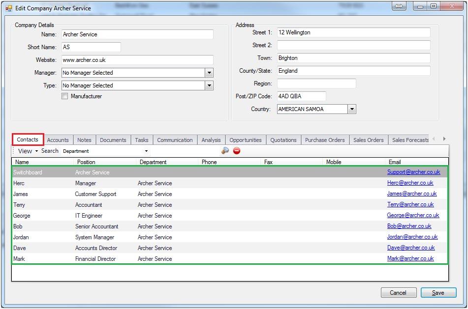 Sapman v12 Contacts screen
