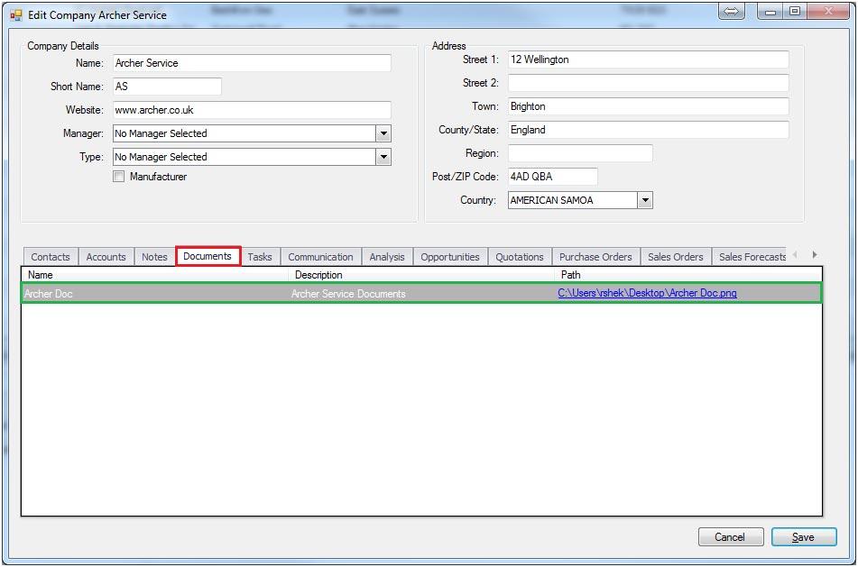 Sapman v12 Document Link screen