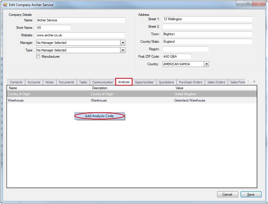 Sapman v12 Add Analysis Code screen