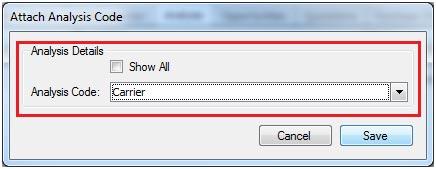 Sapman v12 Attach Analysis Code screen