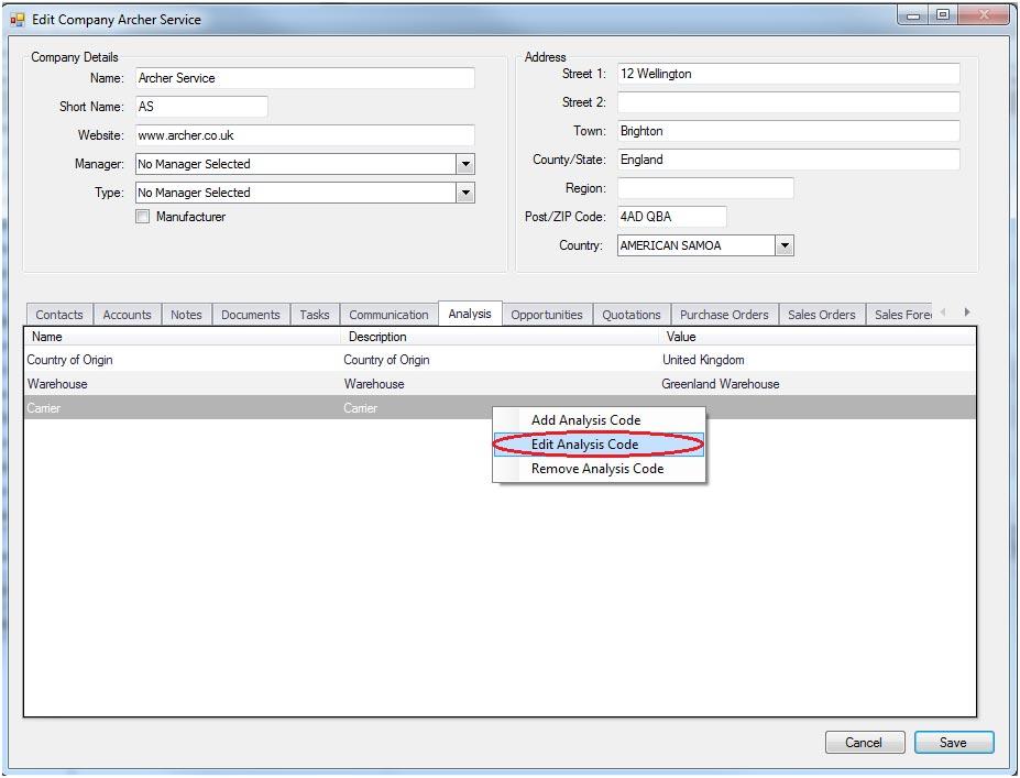 Sapman v12 Edit Analysis Code screen