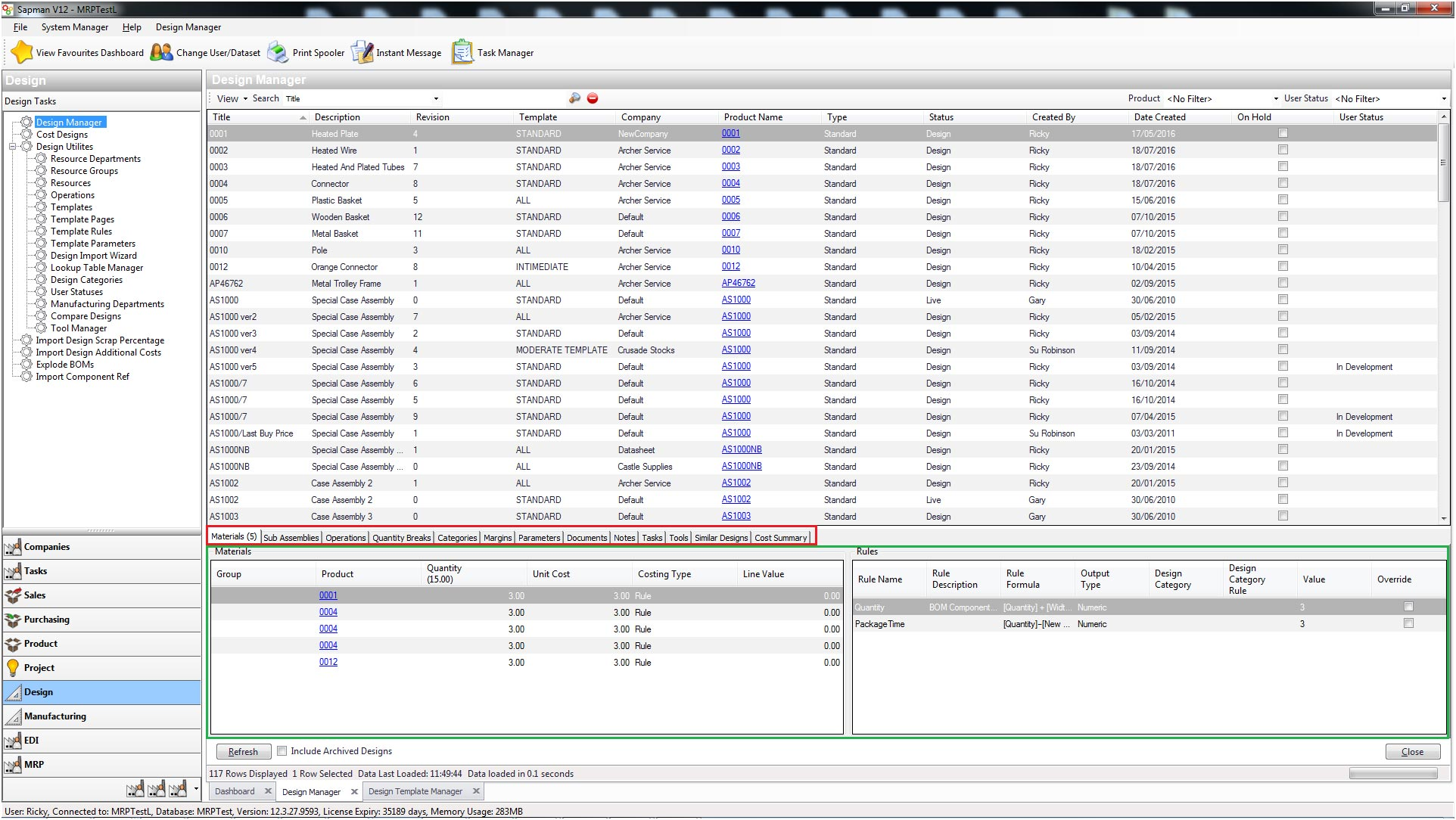 Sapman v12 Design Manager screen