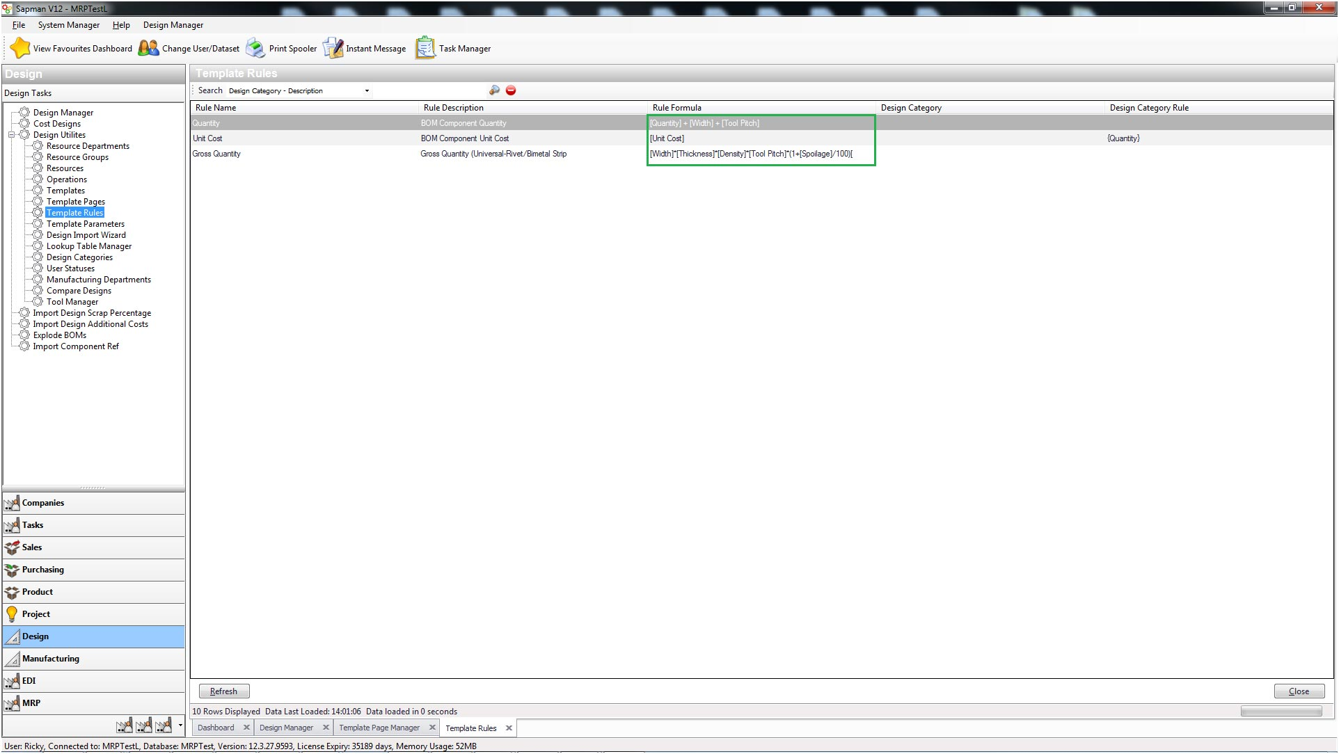 Sapman v12 Rules Manager screen