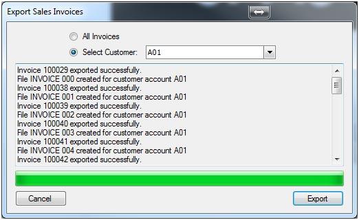 Sapman v12 Export Sales Invoices screen