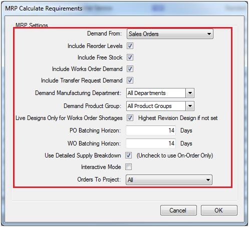 Sapman v12 Calculate Requirements screen