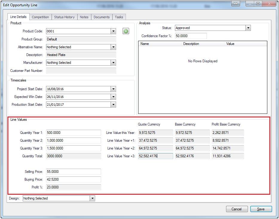 Sapman v12 Edit Opportunity Line screen