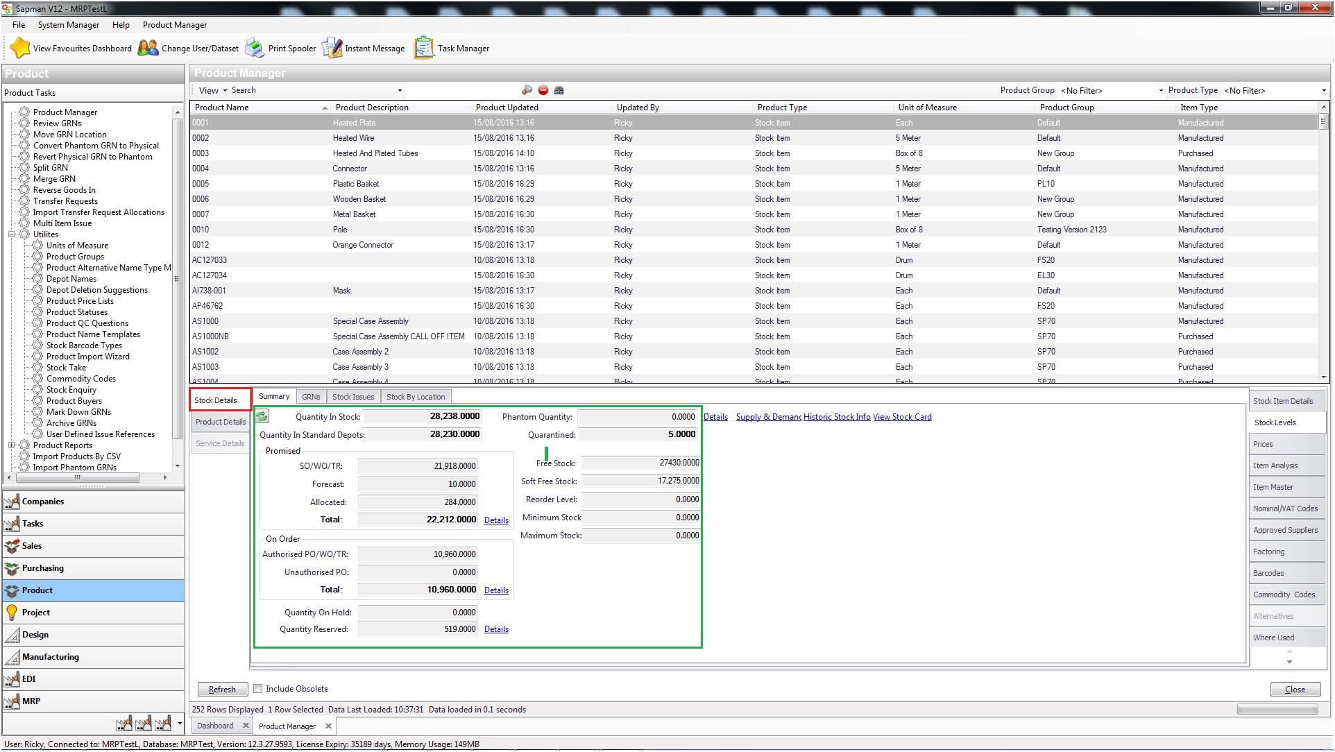 Sapman v12 Stock Levels screen