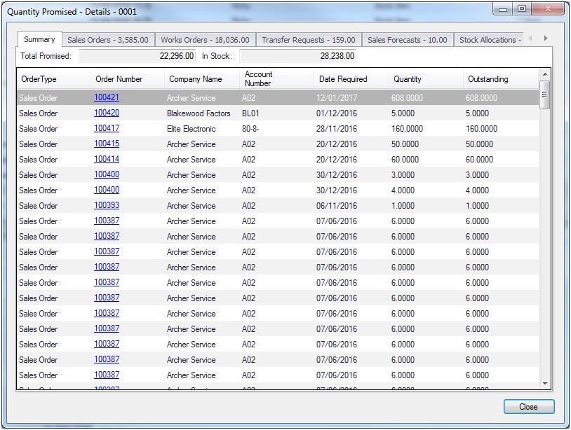 Sapman v12 Quantity Promised Details screen