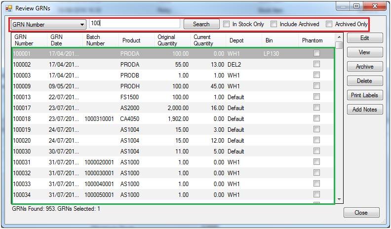 Sapman v12 Goods Received Note screen