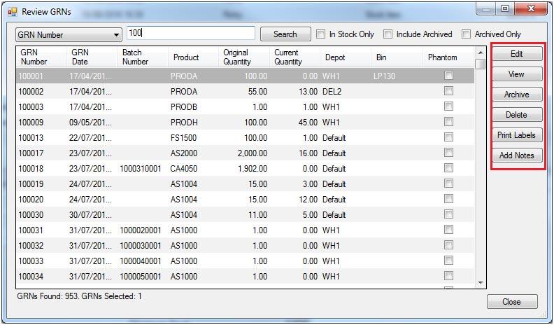 Sapman v12 Review GRNs screen