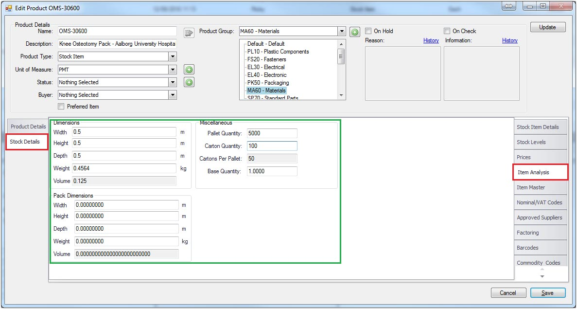Sapman v12 Item Analysis screen