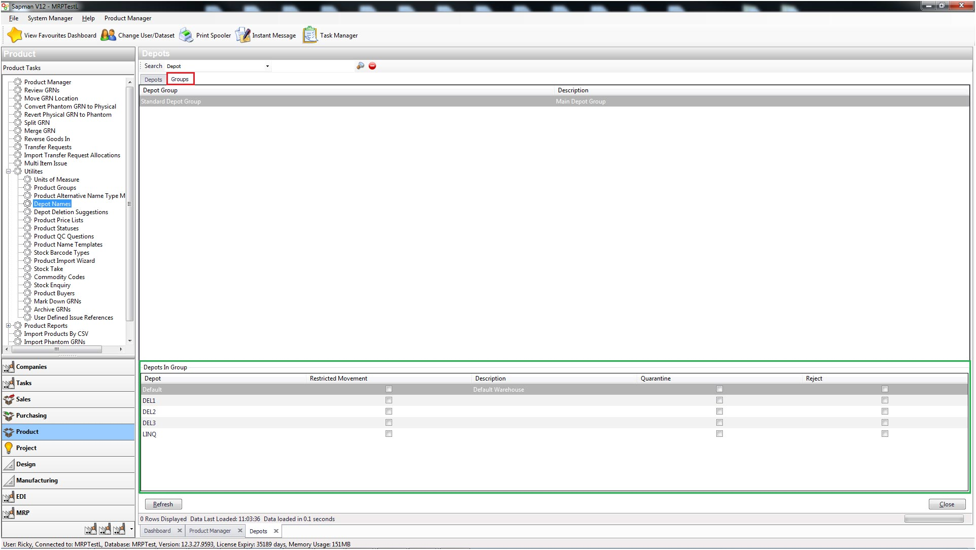 Sapman v12 Depot Manager screen