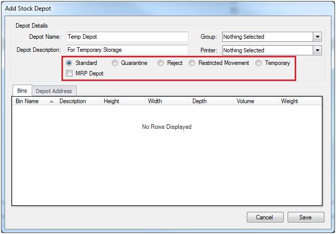 Sapman v12 Add Stock Depot screen