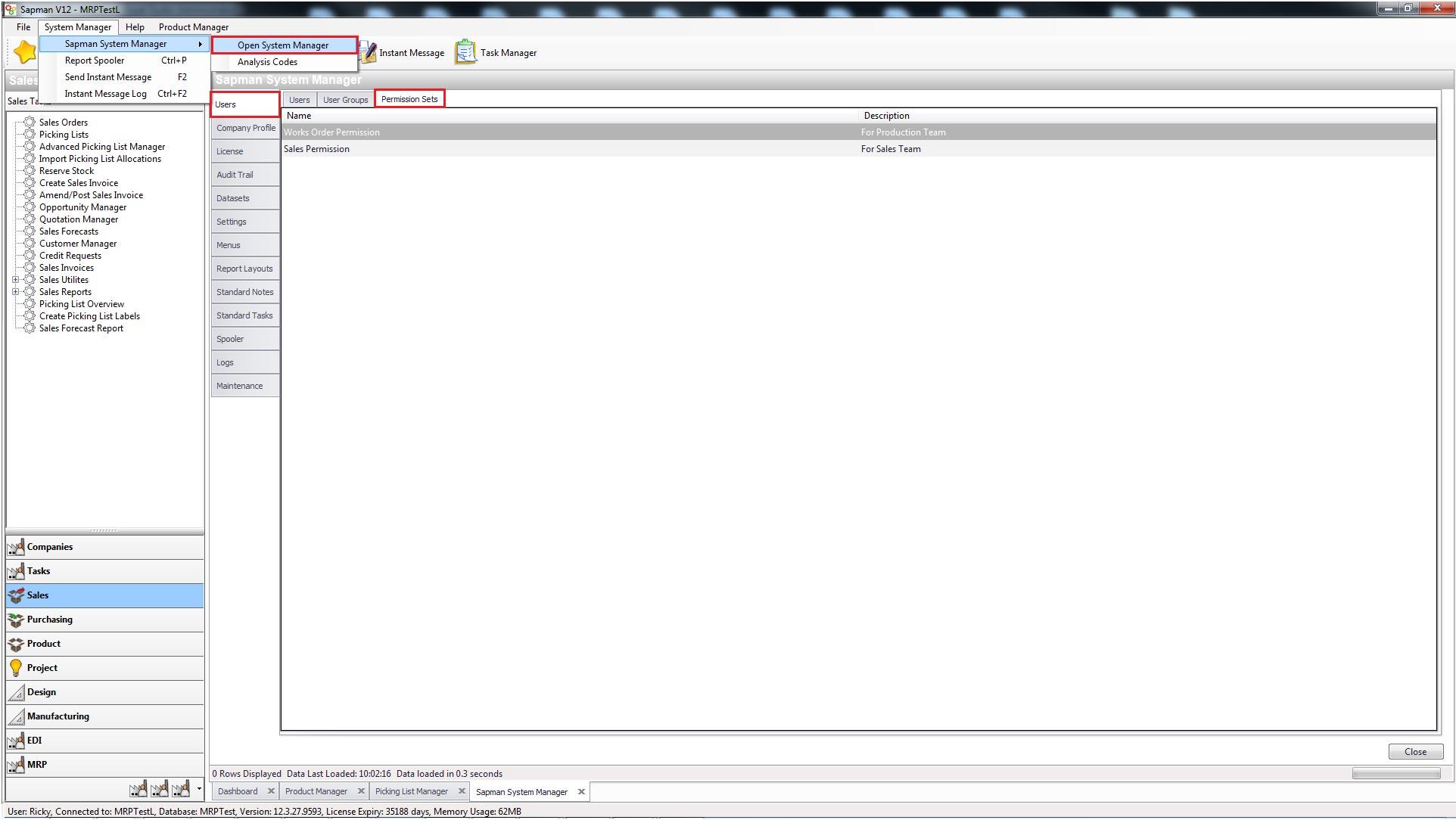 Sapman v12 User Permissions screen