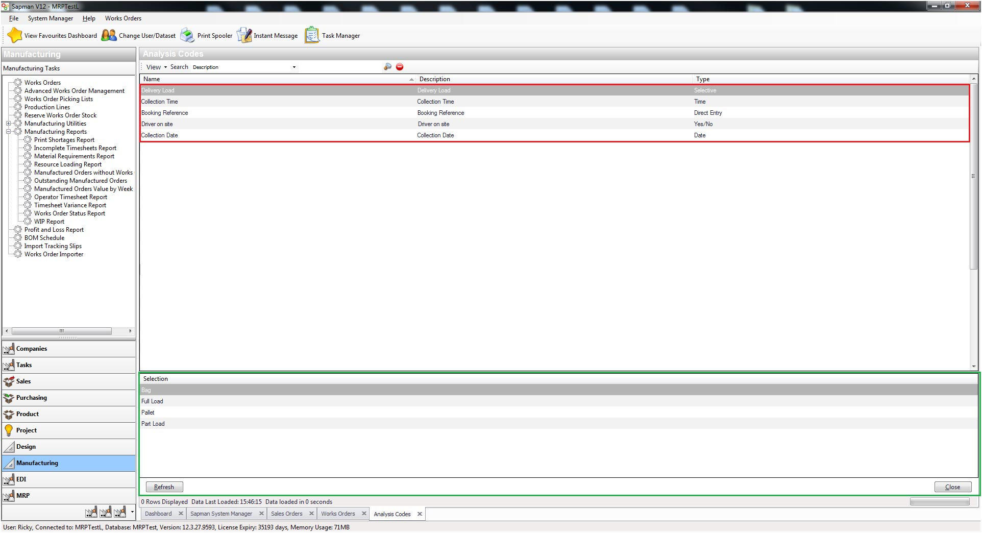 Sapman v12 Analysis Code Manager screen