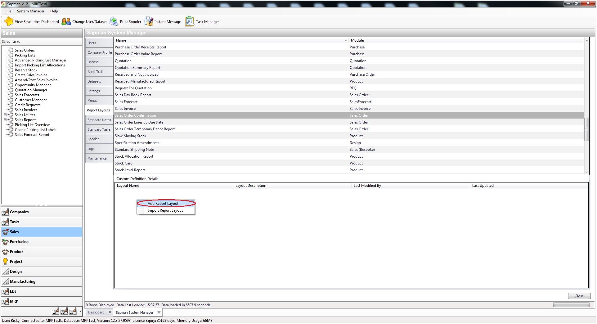 Sapman v12 Import V12 Report Layouts screen