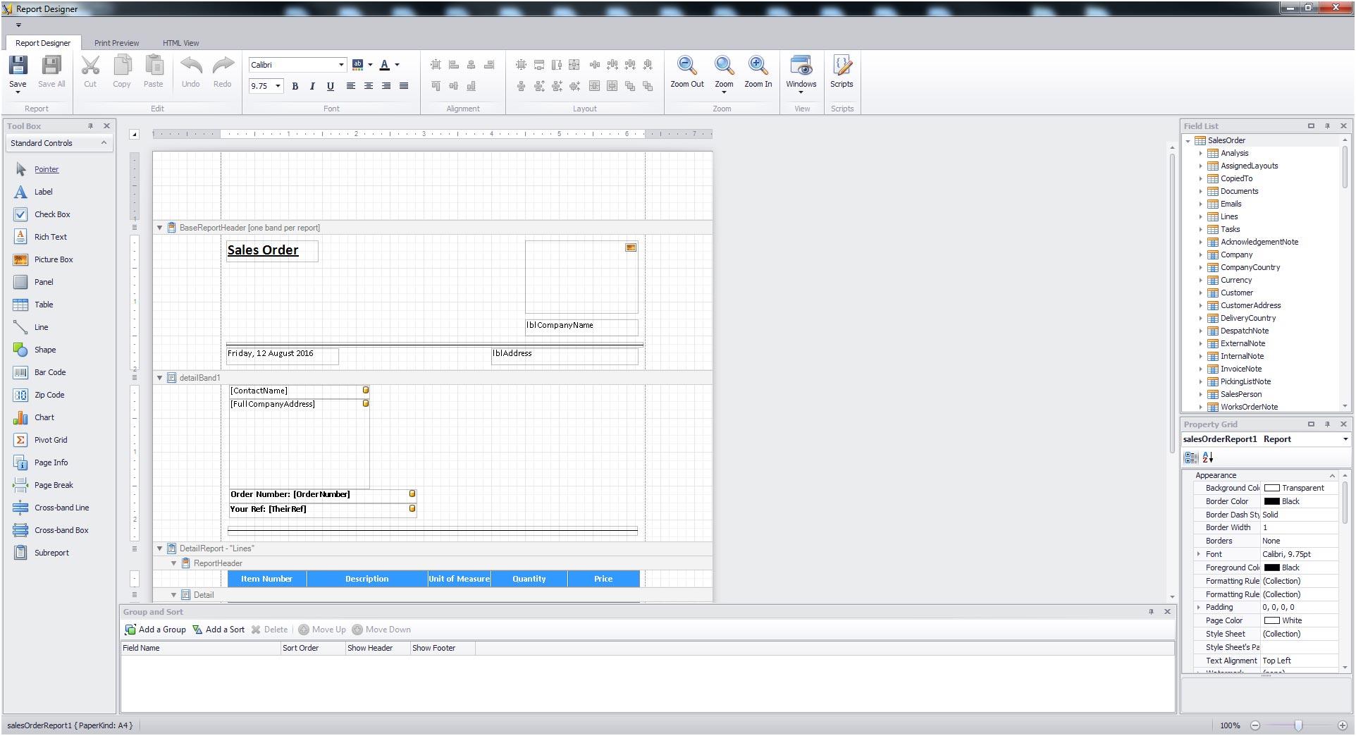 Sapman v12 Report Designer screen