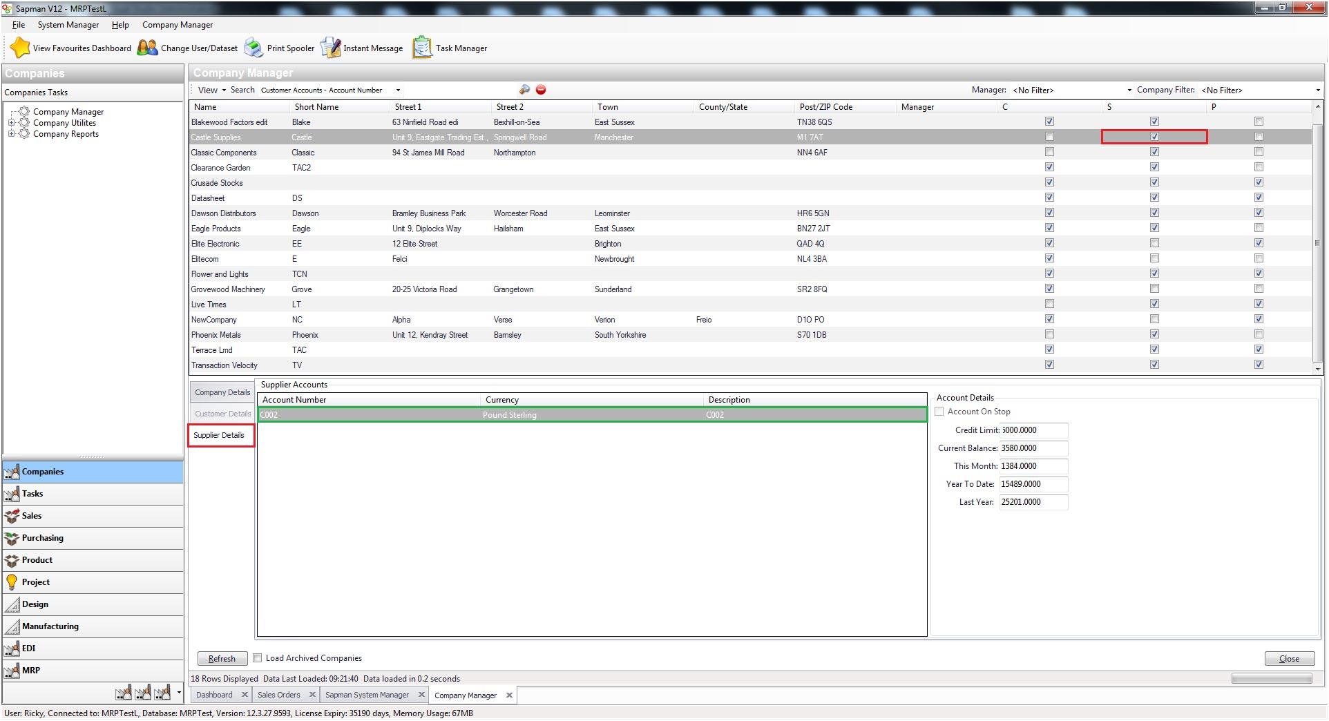 Sapman v12 Supplier Details screen