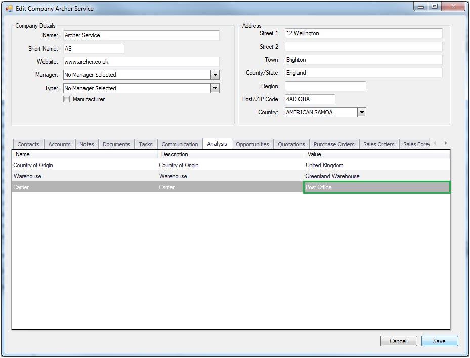Sapman v12 Analysis Grid screen