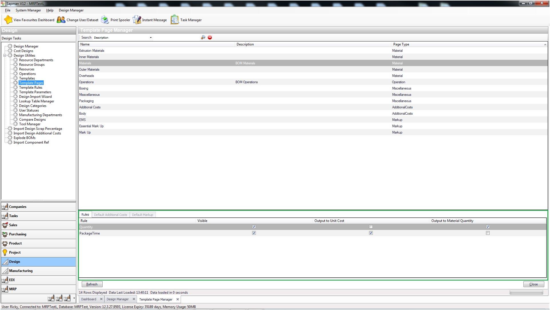 Sapman v12 Template Page screen