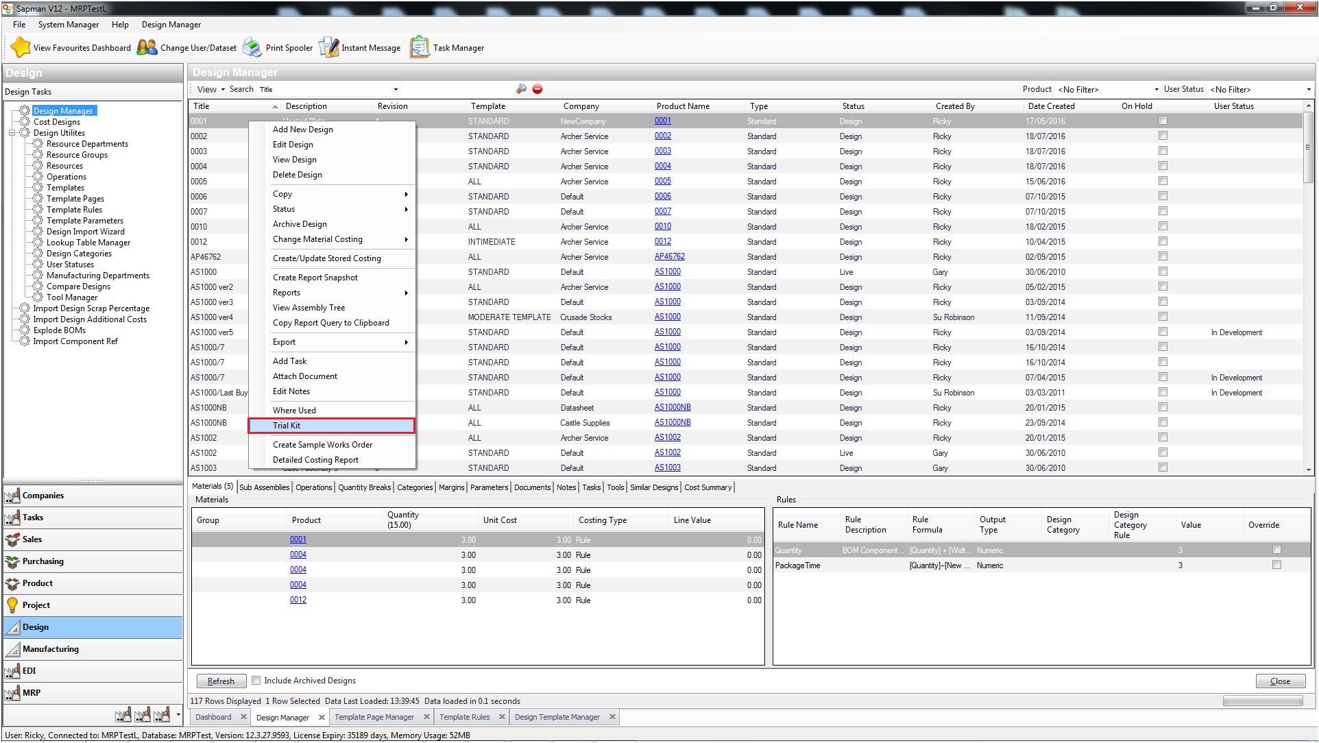 Sapman v12 Trial Kit screen