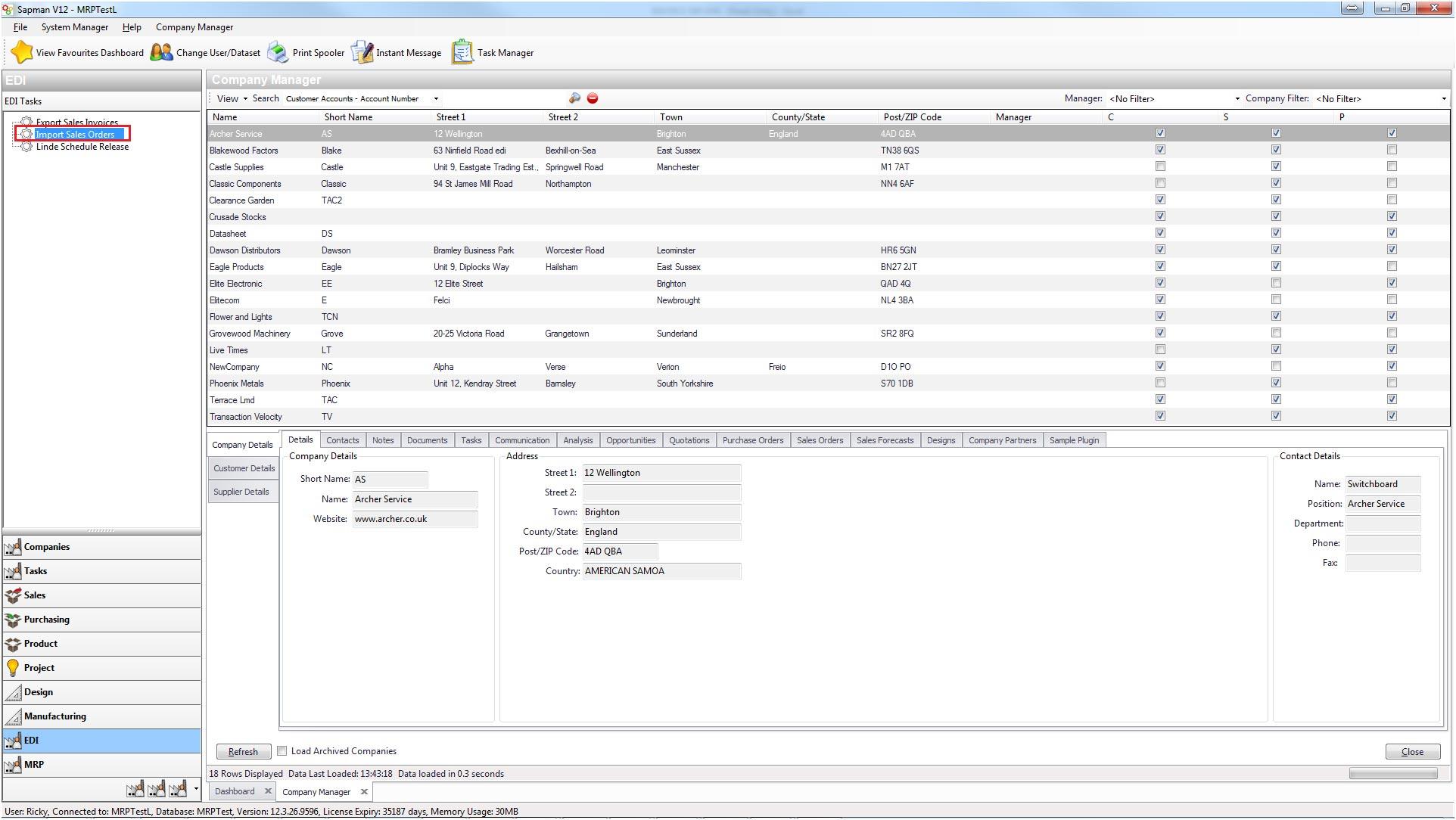 Sapman v12 Export Orders screen