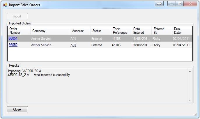 Sapman v12 Import Sales Orders screen
