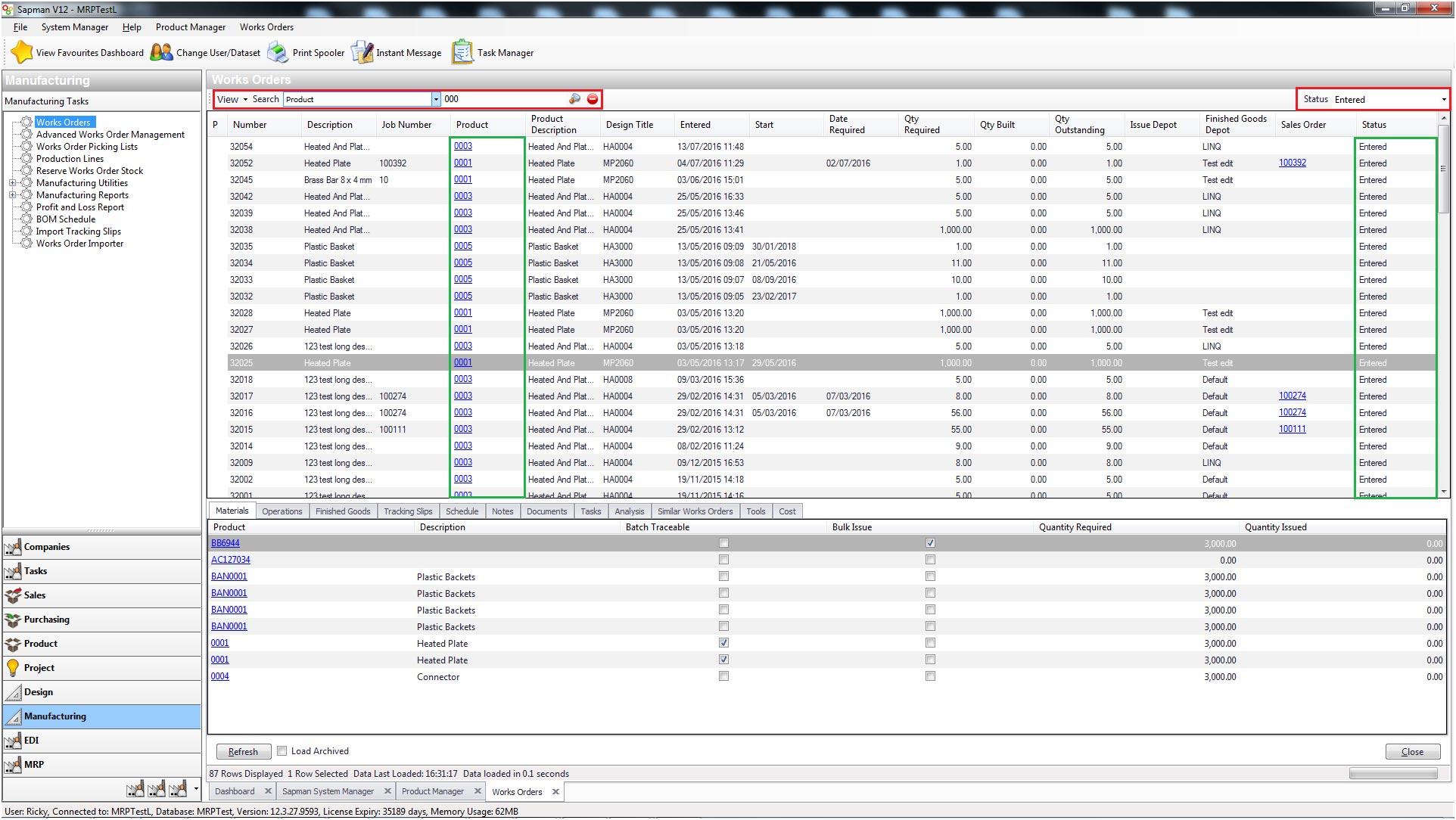 Sapman v12 Works Order Manager screen