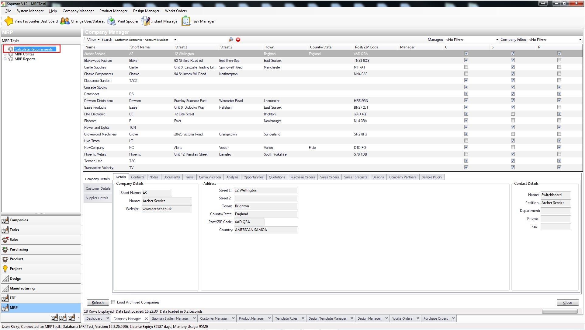 Sapman v12 MRP screen shot