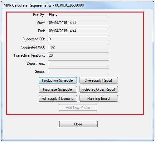 Sapman v12 Calculate Requirements screen