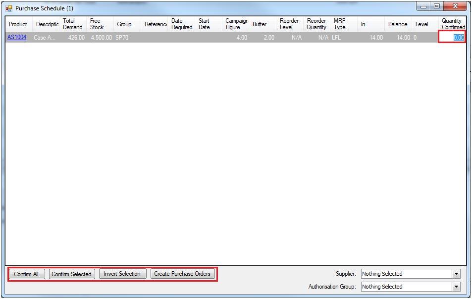Sapman v12 Purchase Schedule & Works Order Schedule screen