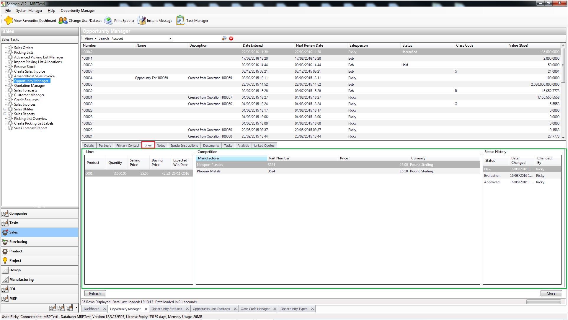 Sapman v12 Screenshot Opportunity Manager screen