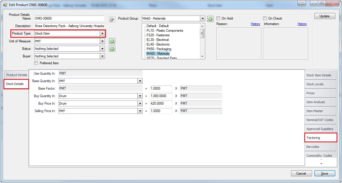 Sapman v12 Product Factoring screen