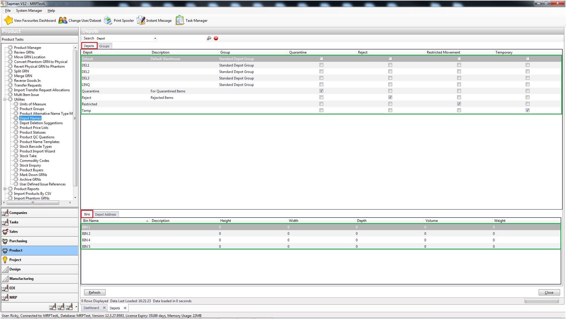 Sapman v12 Depot Names screen