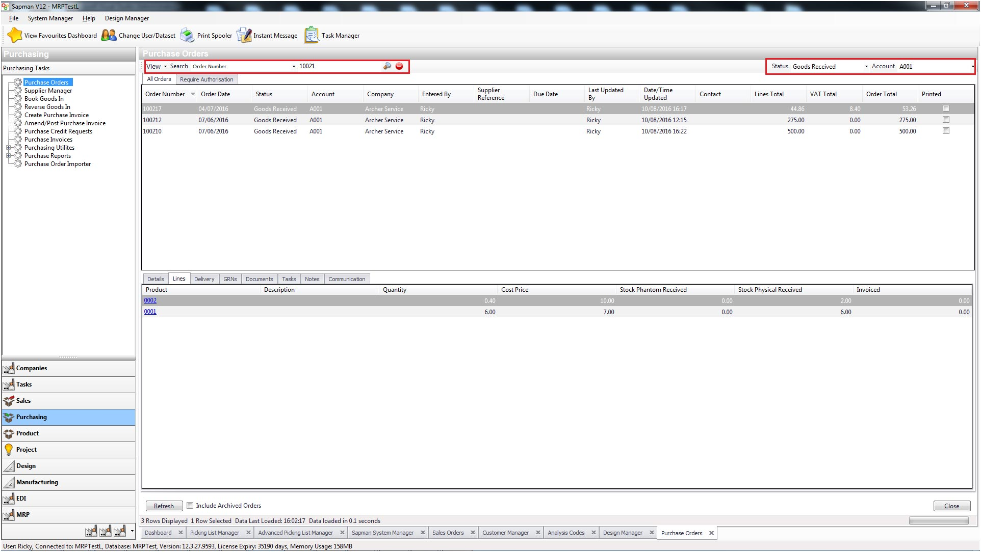 Sapman v12 Purchase Order Manager screen