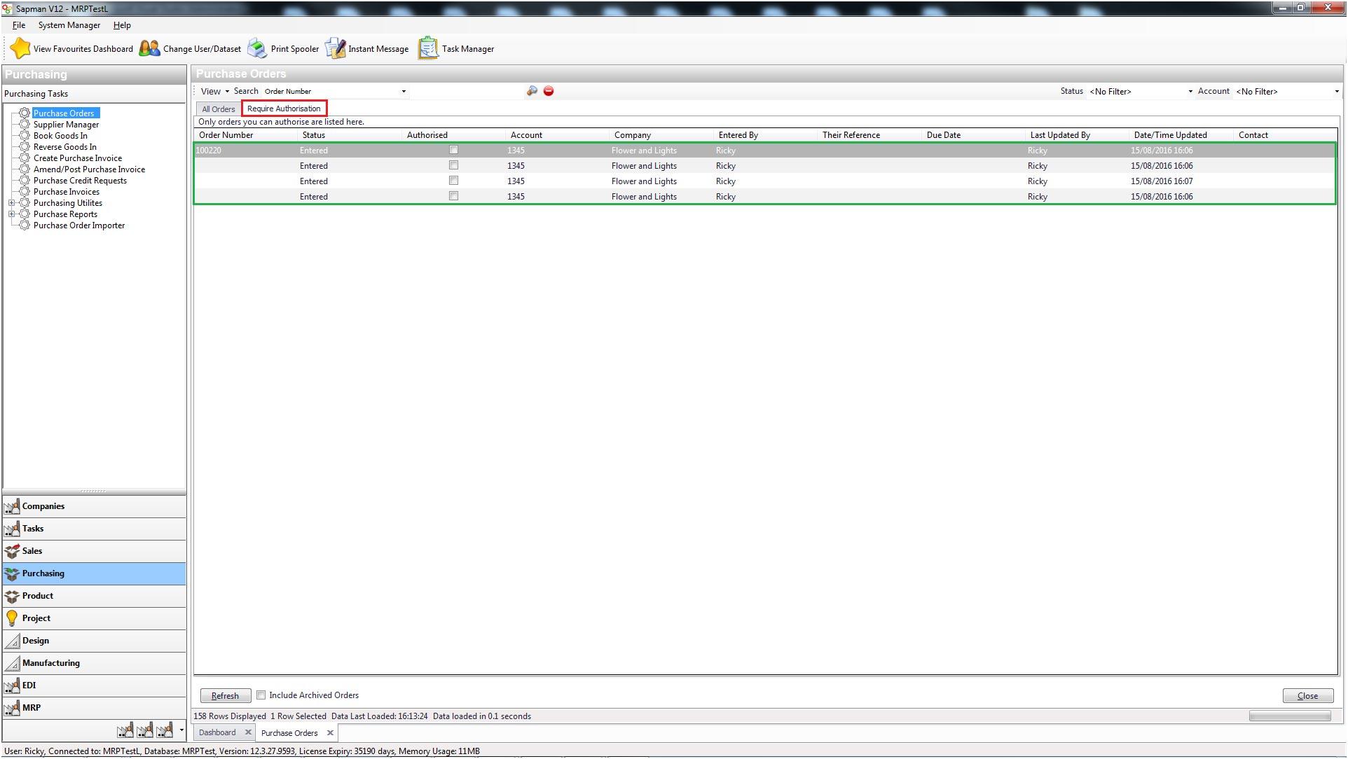 Sapman v12 Purchase Order Authorisation screen