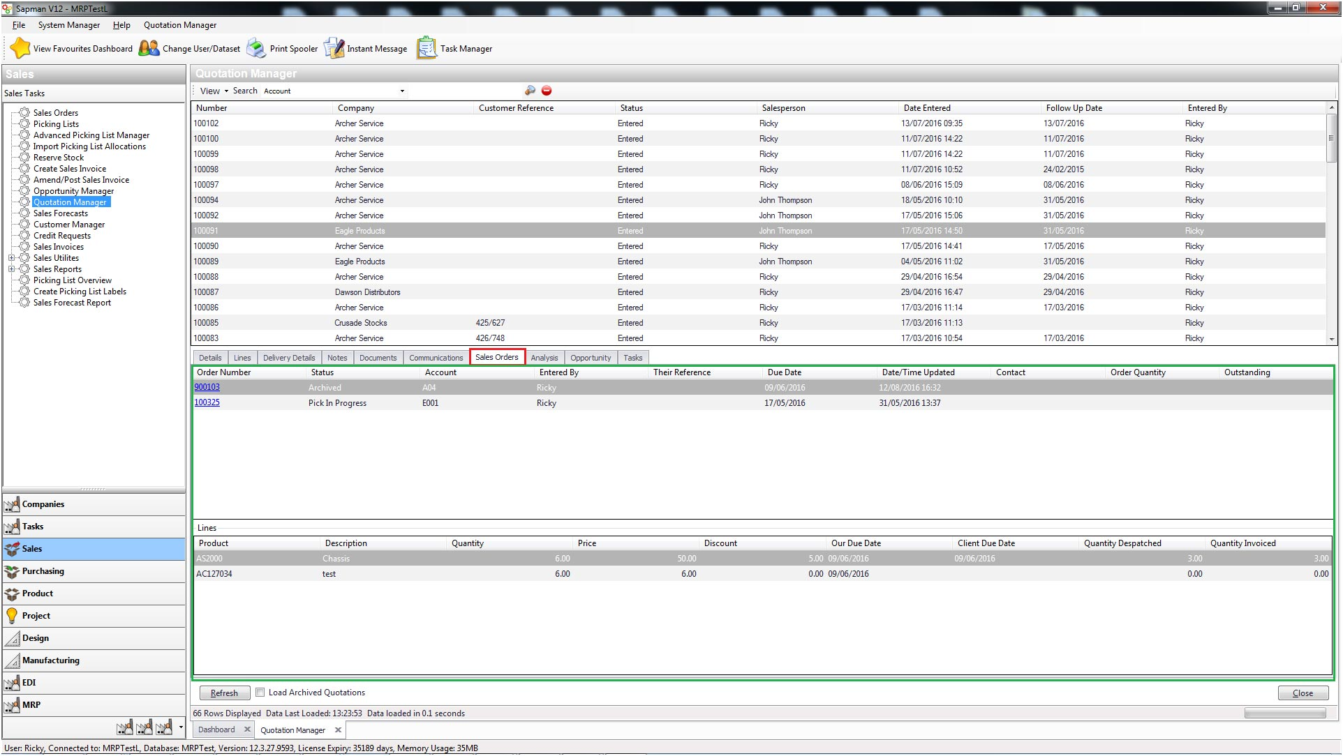 Sapman v12 Sales Order screen