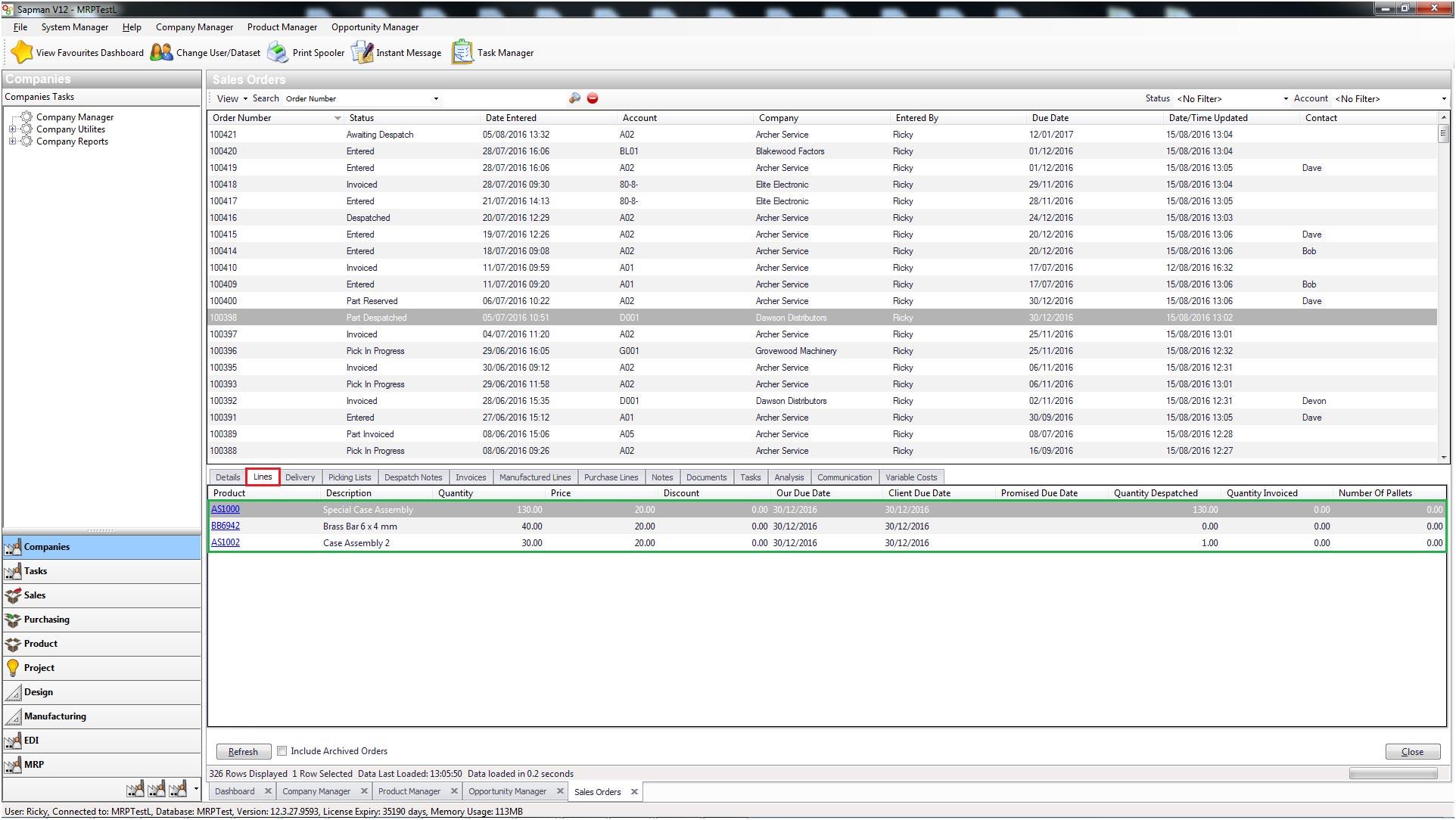 Sapman v12 Sales Order Manager screen
