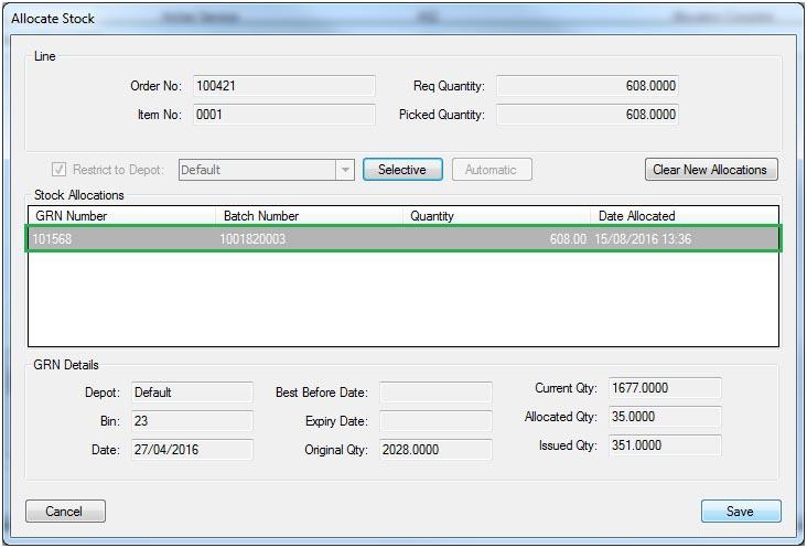 Sapman v12 Picking List screen
