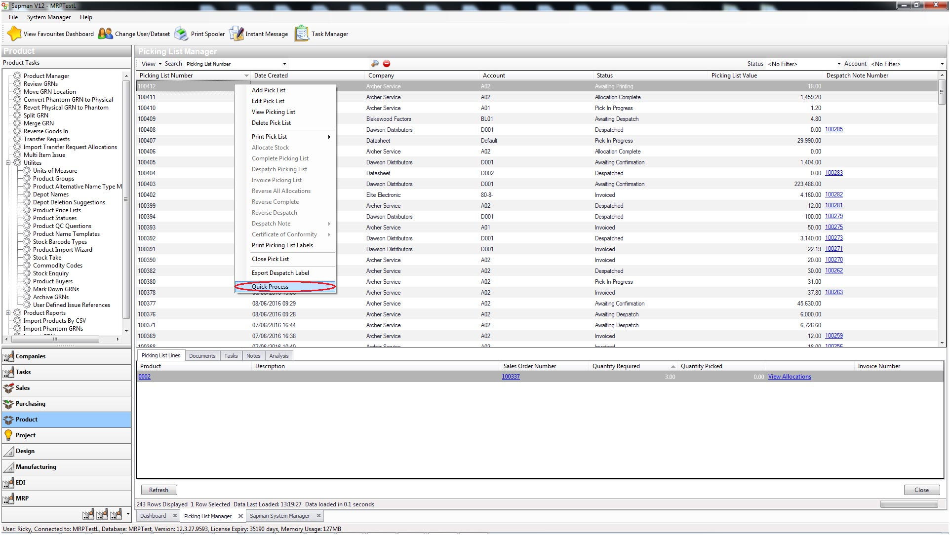 Sapman v12 Picking List Manager screen