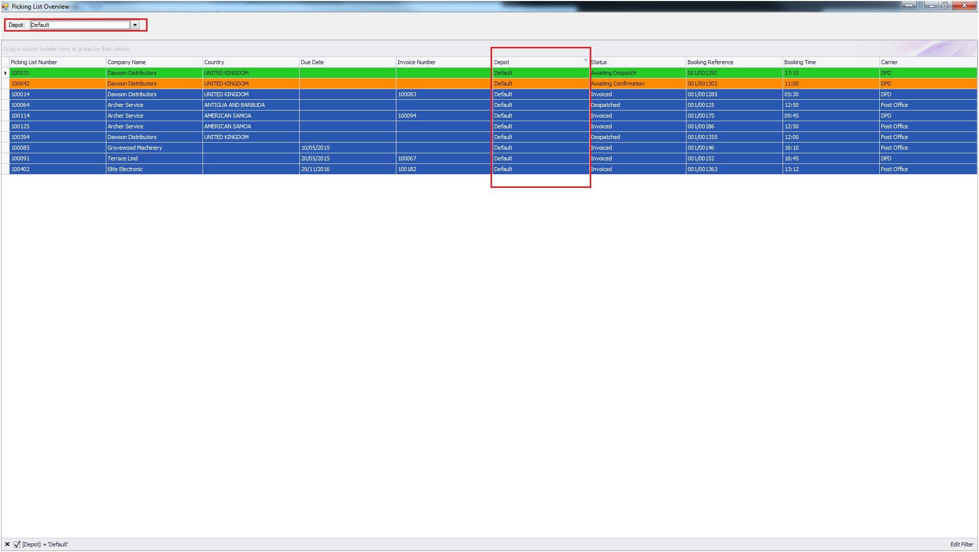 Sapman v12 Picking List Overview screen