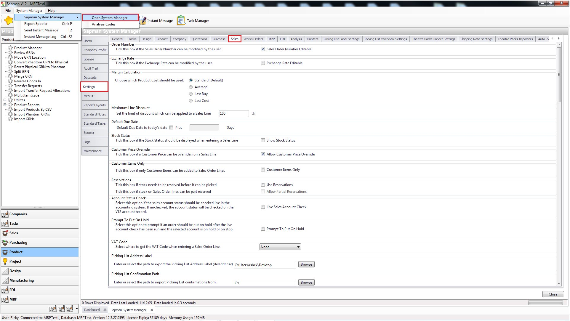 Sapman v12 Parameter settings screen