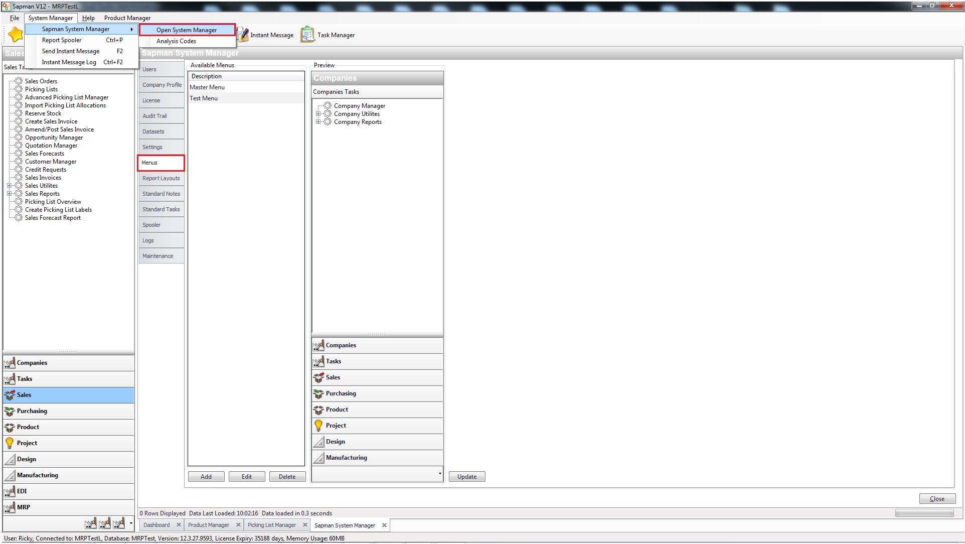 Sapman v12 System Manager screen