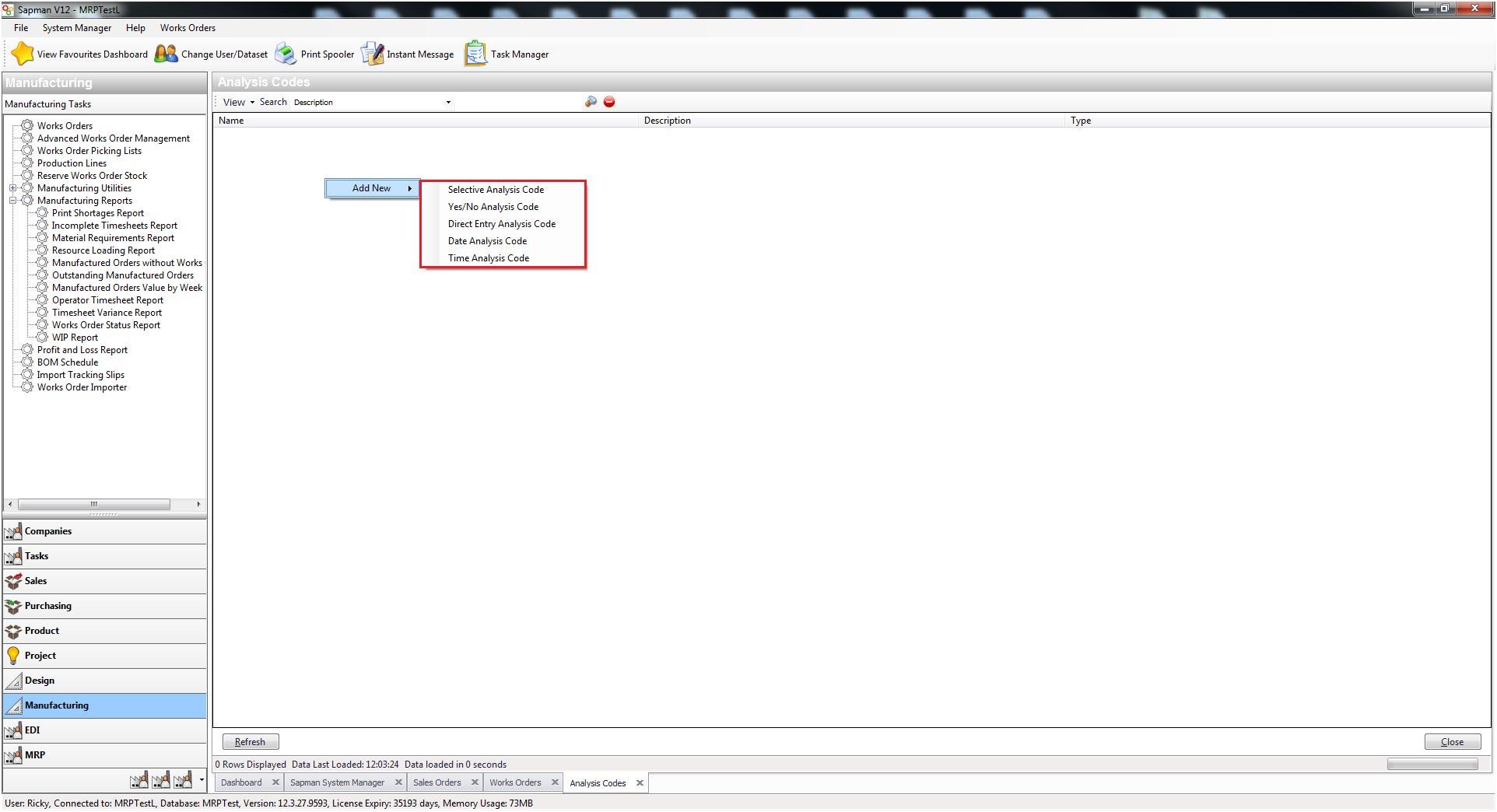 Sapman v12 Analysis Codes screen