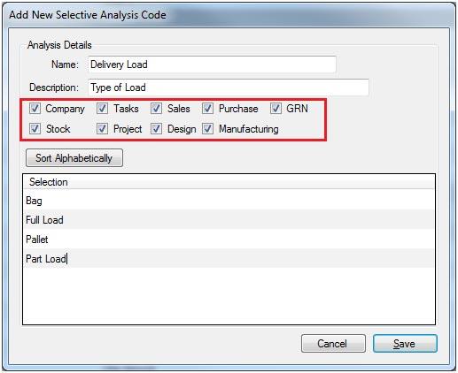 Sapman v12 Add New Selective Analysis Code screen