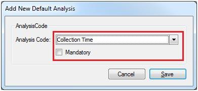 Sapman v12 New Default Analysis Code screen