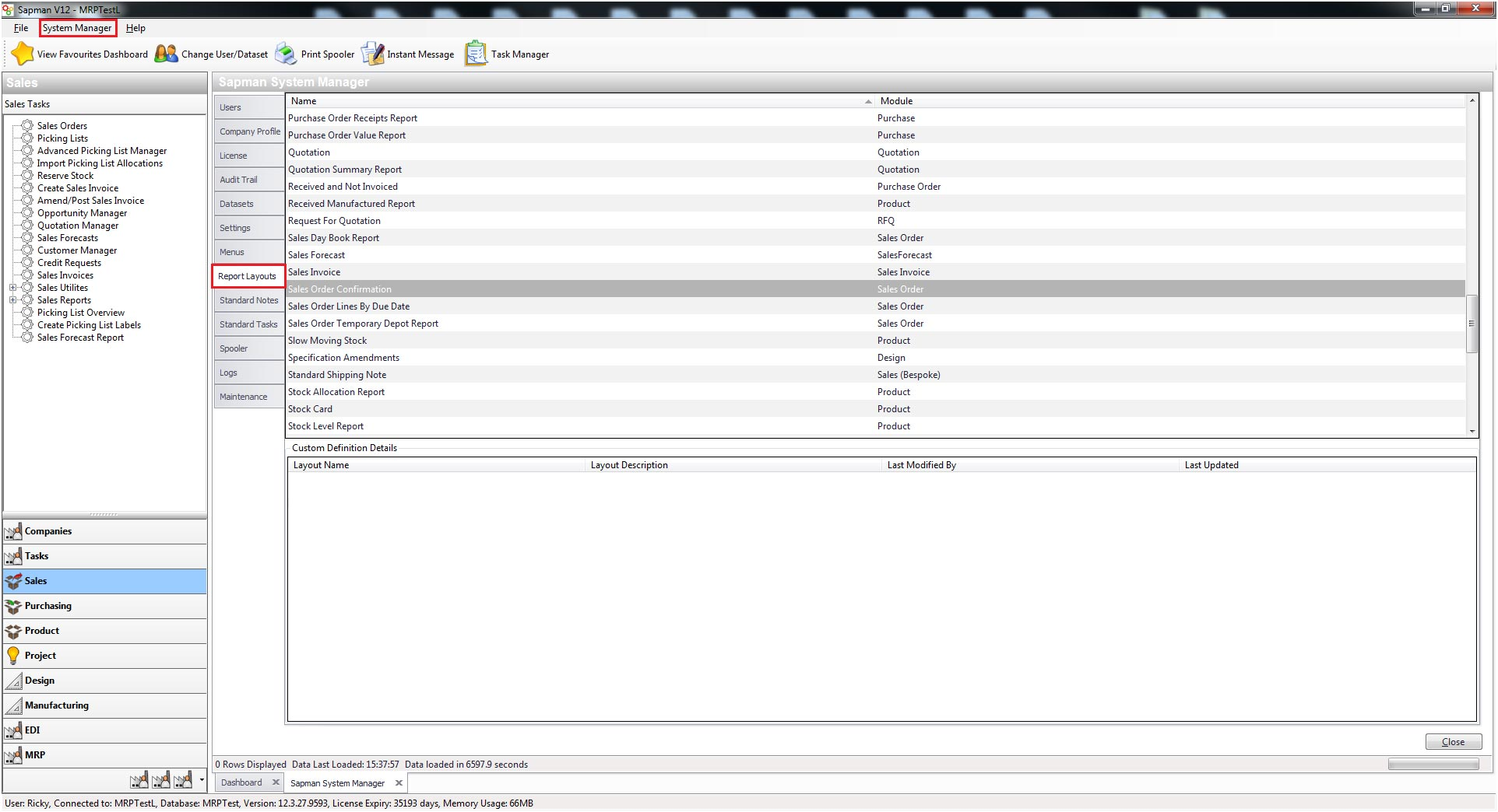 Sapman v12 System Manager Reports screen